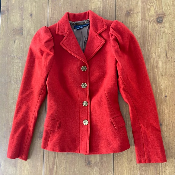 Ralph Lauren Gorgeous Single Breasted Pea Coat Red